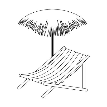 strandstoel met palm paraplu vector illustratie ontwerp Stock Illustratie