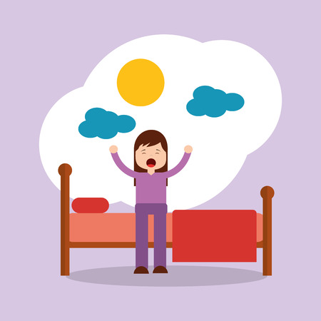 girl waking up stretching sitting on his bed sun day vector illustration Vettoriali