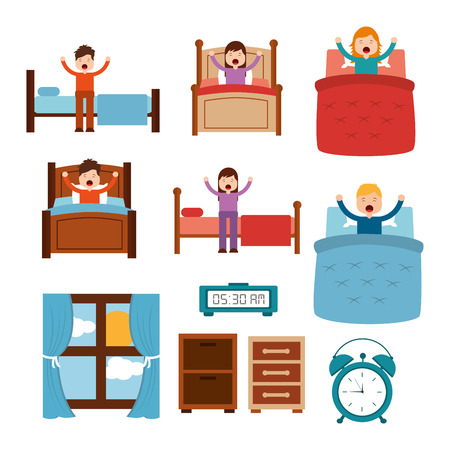 Different people in bed waking up vector illustration set