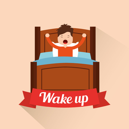 wake up little boy stretching in the bed vector illustration