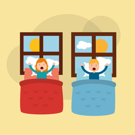 young boy and girl in your bed stretching window morning vector illustration