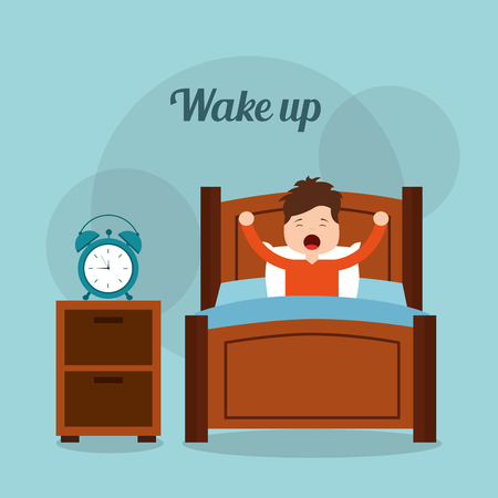 wake up boy in bed arms stretch with clock on table vector illustration
