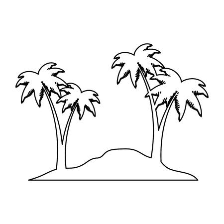 Beach with palms scene vector illustration design. Illustration