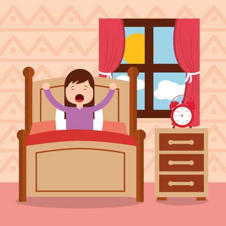 Girl in bed waking up in the morning vector illustration. Stock fotó - 94207591