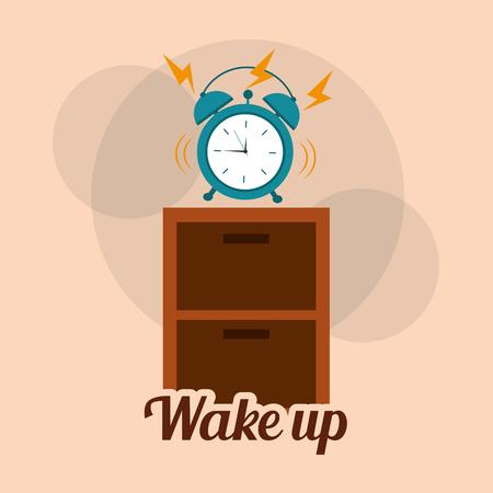 Wekker klok alarm de houten tafel vectorillustratie. Stock Illustratie