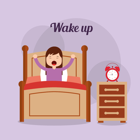 Girl in his bed with clock bedside table wake up vector illustration.