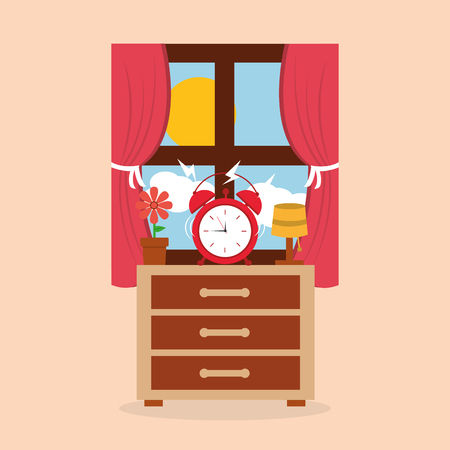 Round clock alarm in the bedside table lamp flower and window morning vector illustration.