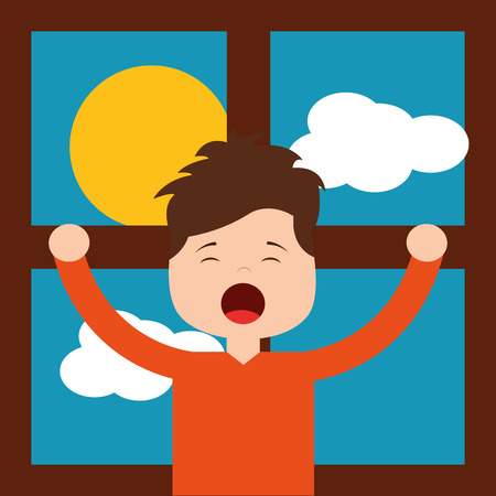 Little boy in front morning day stretching window vector illustration.