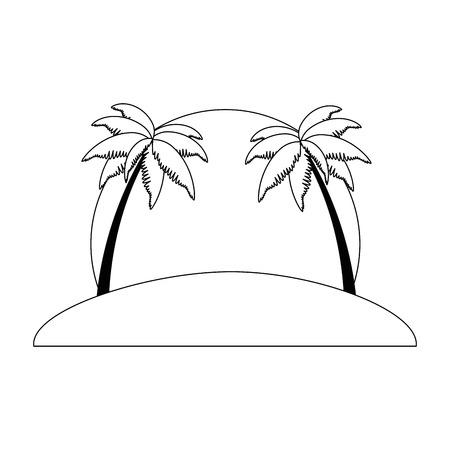 Beach with palms scene vector illustration design. Ilustração
