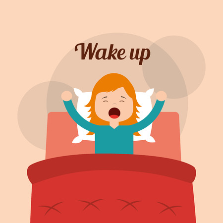 Little girl wake up in the bed arms stretching vector illustration.