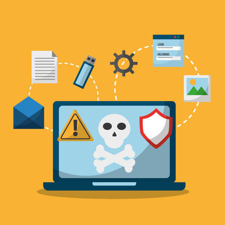Laptop spectre and meltdown malware attack vector illustration.