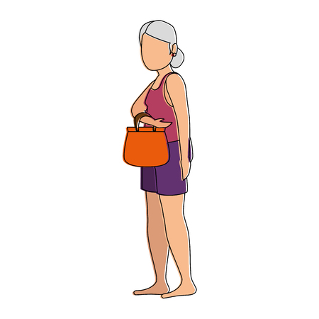 Old lady in beach outfit. Vector illustration design.