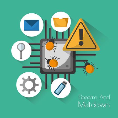 Spectre and meltdown warning security virus vector illustration. Foto de archivo - 94207083