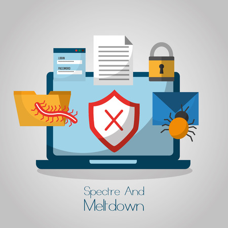 spectre and meltdown computer cyber attack protection vector illustration Illustration