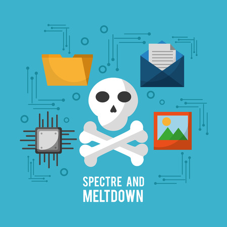 spectre and meltdown skull email picture circuit files vector illustration
