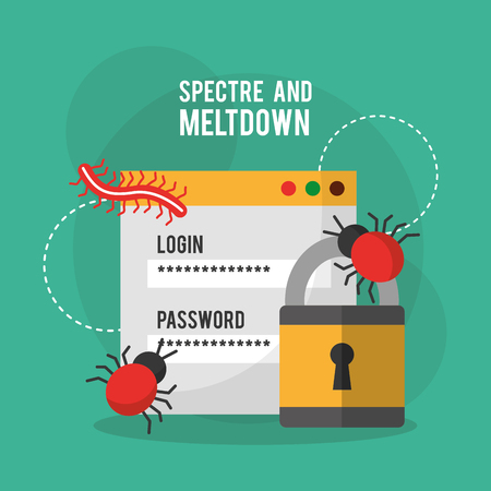 Spectre and meltdown login password security virus vector illustration