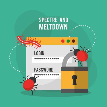 Spectre en meltdown login wachtwoord beveiliging virus vector illustratie