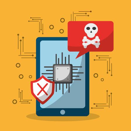 smartphone data problem virus attaked vector illustration