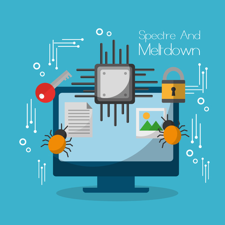 spectre and meltdown computer motherboard virus lock vector illustration Çizim