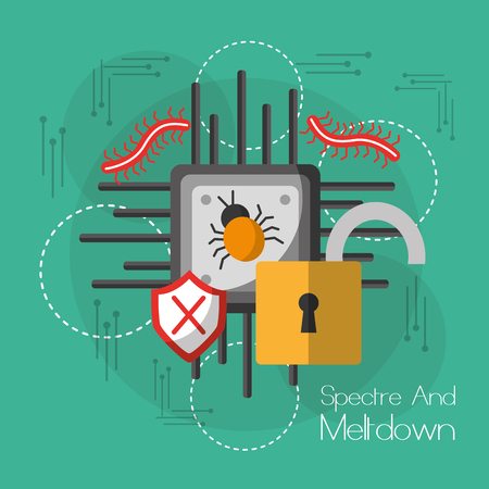 Spectre and meltdown motherboard techonology protection secure virus vector illustration Illustration
