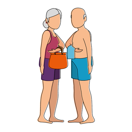 grandparents in beach outfit vector illustration design Çizim