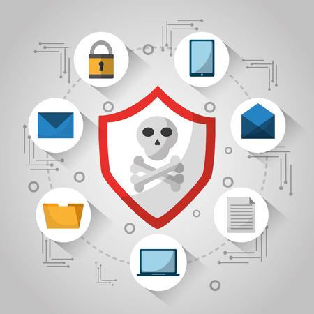 shield skull and bones technology virus danger design vector illustration Illustration