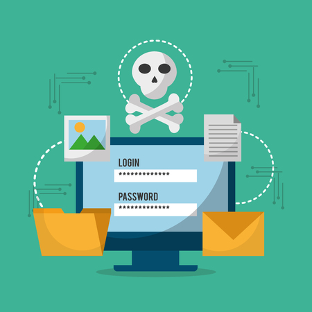 computer technology login password skull danger file email vector illusrtation