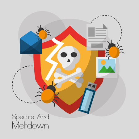 spook en meltdown kwetsbaarheid systeem informatie virus vector illustratie Stock Illustratie