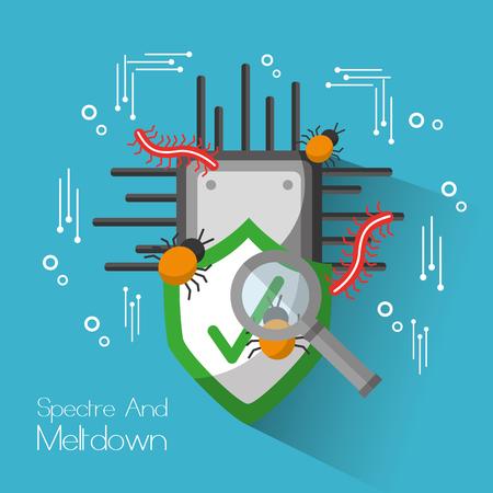 スペクターとメルトダウンボード回路シールド保護検索ウイルス。ベクトルイラスト。