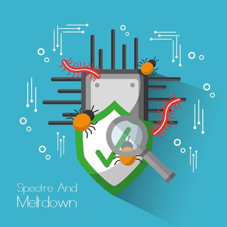 Spectre and meltdown board circuit shield protection search virus. Vector illustration. Иллюстрация