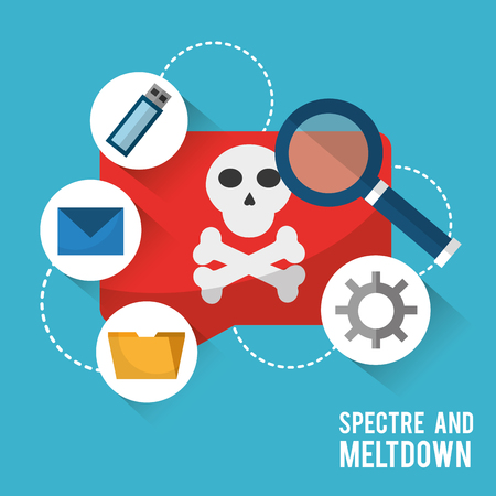 Spectre and meltdown virus notification data search vector illustration.