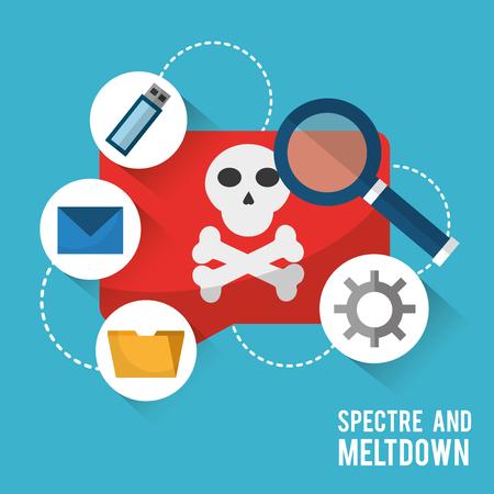 Spectre en meltdown virus kennisgeving gegevens zoeken vectorillustratie. Stock Illustratie