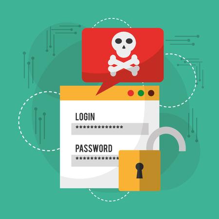 Login password, danger notification, unlock information vector illustration.