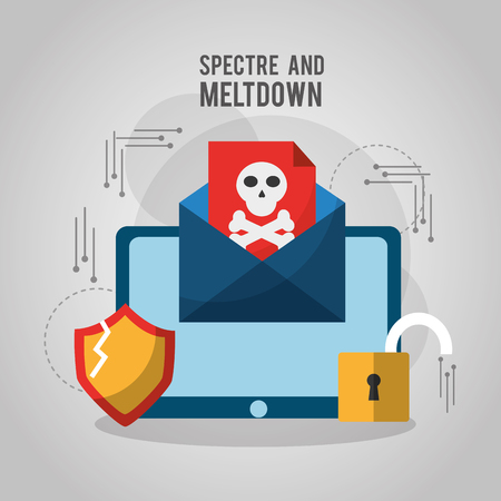 spectre and meltdown email spyware virus attack vulnerability vector illustration Illusztráció