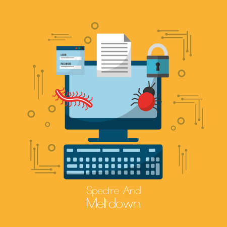 spectre and meltdown computer software virus security vector illustration Illustration