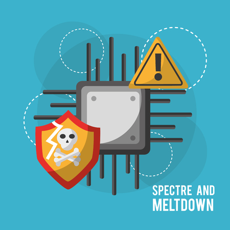 spectre and meltdown motherboard circuit technology warning danger security vector illustration
