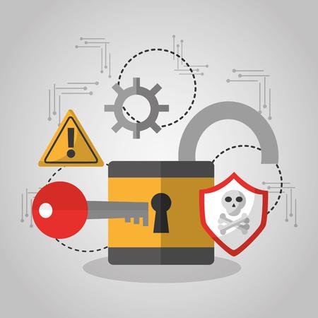 ilustracja wektorowa ochrony oprogramowania klucz bezpieczeństwa otwartej kłódki