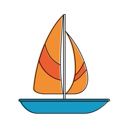 summer sailboat isolated icon vector illustration design Çizim
