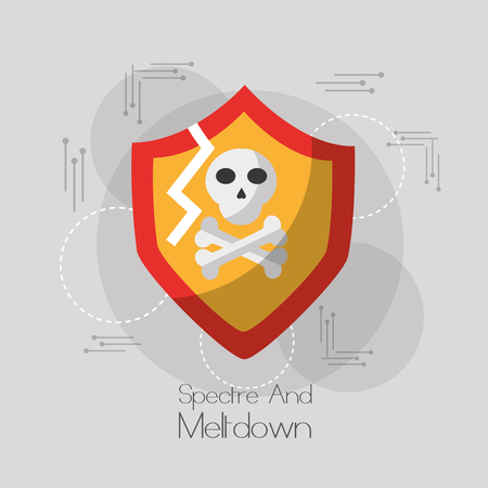 spectre and meltdown shield protection skull bones danger system virus vector illustration