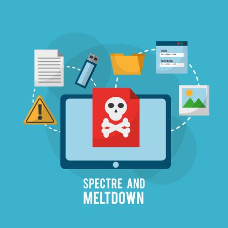 유령과 붕괴 태블릿 컴퓨터 위험 취약점 감염 파일 정보 벡터 일러스트 레이션