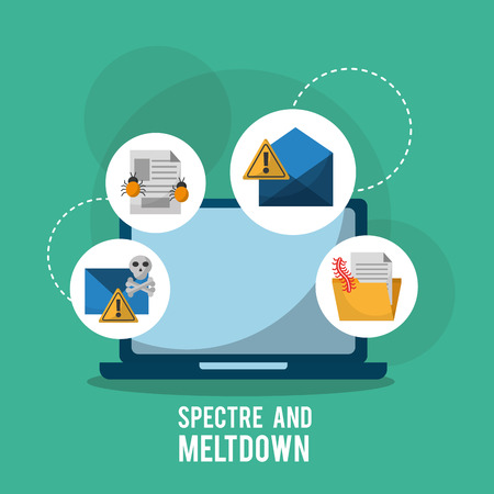 spectre and meltdown laptop virus attacked infection system vector illustration