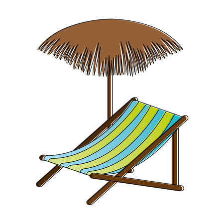 beach chair with palm umbrella vector illustration design Illustration