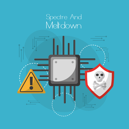 spectre and meltdown board circuit virus warning alert security vector illustration Illustration