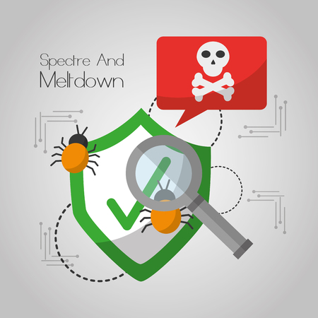 spectre and meltdown shield protection notification virus search vector illustration Illustration