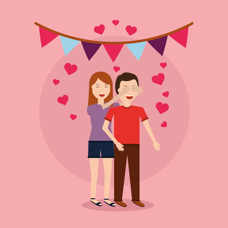 cute woman giving surprise man love romantic heart garland vector illustration Illustration