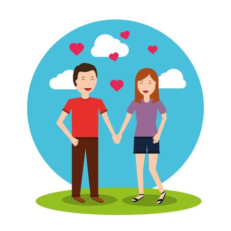 Beau couple heureux tenant les mains coeurs paysage illustration vectorielle Banque d'images - 94207883