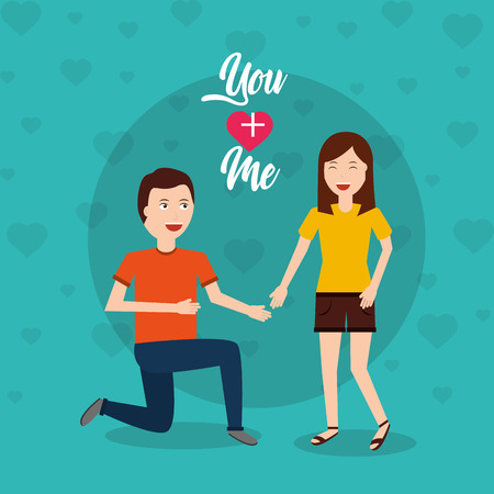 happy man on his knee proposal woman Ilustrace
