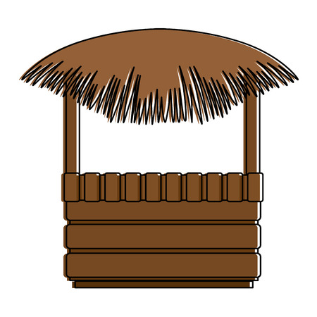 straw beach hut icon vector illustration design