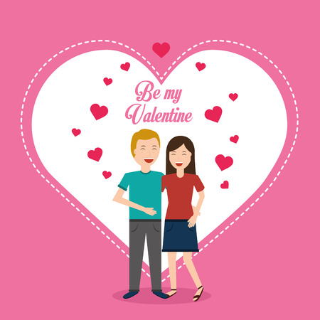 valentine day couple love heart greeting card vector illustration