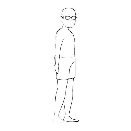 Vieil homme en chemise de plage vecteur illustration design Banque d'images - 94207884